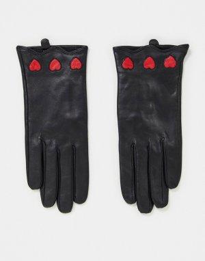Черные кожаные перчатки с сердечками -Многоцветный House of Holland