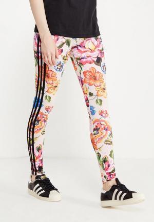 Леггинсы adidas Originals FLORALITA TIGHT. Цвет: разноцветный