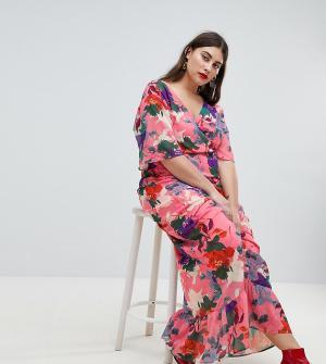 Платье макси с рукавами-кимоно и цветочным принтом Lost Ink Plus. Цвет: розовый
