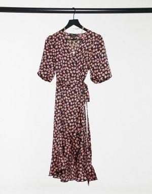 Платье с запахом, оборками и цветочным принтом -Многоцветный Lipsy