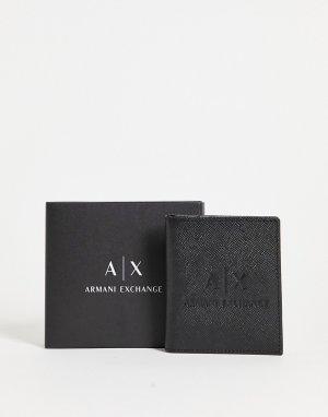 Черная кожаная визитница с тисненым логотипом -Черный цвет Armani Exchange