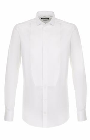 Хлопковая сорочка под смокинг с воротником бабочка Dolce & Gabbana. Цвет: белый