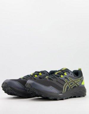 Черные кроссовки для бега по пересеченной местности с желтыми вставками Trail Gel Sonoma 6-Черный цвет Asics
