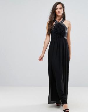 Платье макси с перекрестами, отделкой из искусственной кожи и люверсами BCBG-Черный BCBG MaxAzria