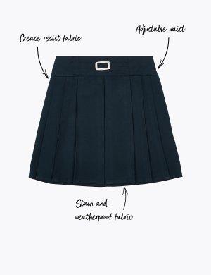 Юбка для девочки с технологией Permanent Pleats Marks & Spencer. Цвет: темно-синий
