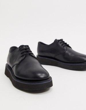 Черные броги со шнуровкой и массивной подошвой -Черный Camper
