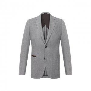 Пиджак из шерсти и кашемира Ermenegildo Zegna. Цвет: серый