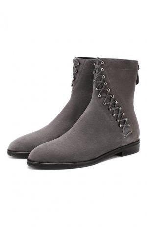 Замшевые ботинки Alaia. Цвет: серый