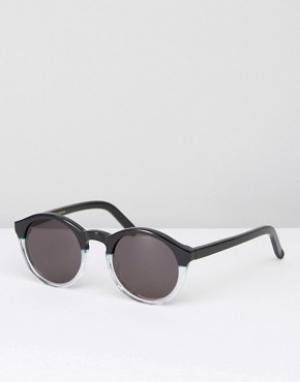 Солнцезащитные очки в круглой черной и прозрачной оправе Monokel Barst Eyewear. Цвет: черный