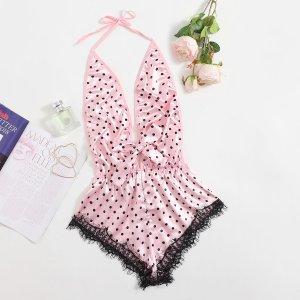 Контрастные кружева Небольшие точки Романтический Сексуально-женское белье SHEIN. Цвет: нежний розовый