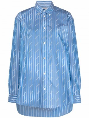 Рубашка в полоску с логотипом Balenciaga. Цвет: синий