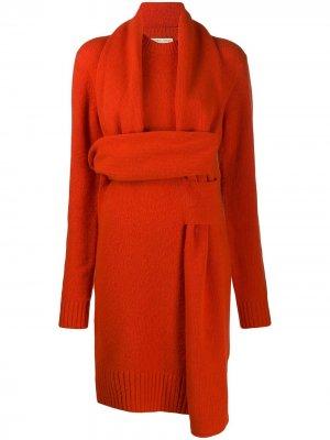 Вязаное платье Bottega Veneta. Цвет: красный