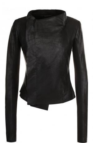 Однотонная кожаная куртка Rick Owens. Цвет: черный