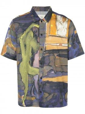 Рубашка Gabe с абстрактным принтом Folk. Цвет: синий