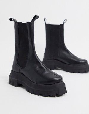 Черные кожаные ботинки челси на массивной подошве -Черный ASOS DESIGN