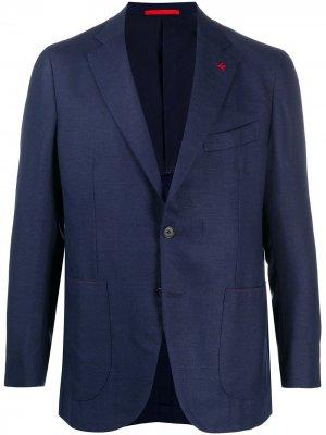 Пиджак с брошью на лацкане Isaia. Цвет: синий