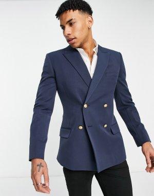 Двубортный пиджак зауженного кроя темно-синего цвета Wedding-Голубой ASOS DESIGN