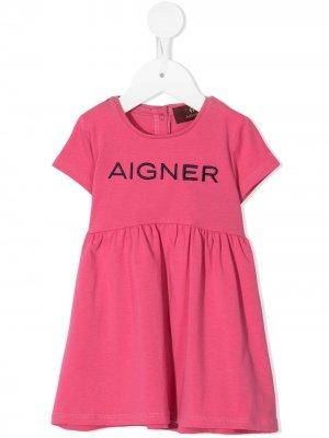 Платье-футболка с логотипом Aigner Kids. Цвет: розовый
