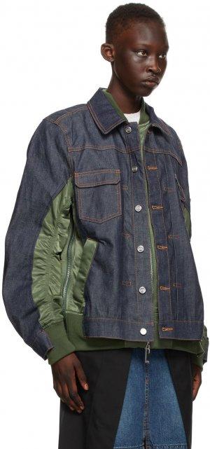 Indigo & Khaki Sacai Edition Denim Eimi Jacket A.P.C.. Цвет: jaa khaki