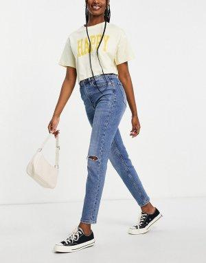 Синие узкие рваные джинсы стретч в винтажном стиле -Голубой Stradivarius