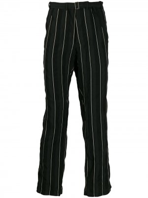 Полосатые брюки прямого кроя Haider Ackermann. Цвет: черный