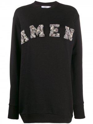 Декорированный свитер с логотипом Amen. Цвет: черный