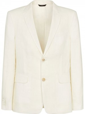 Однобортный пиджак с логотипом FF Fendi. Цвет: белый