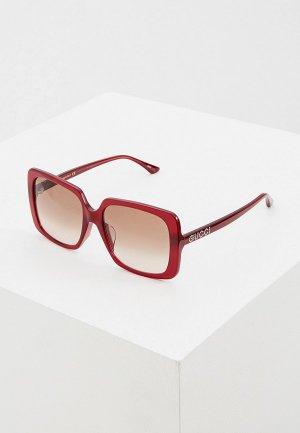 Очки солнцезащитные Gucci GG0728SA 003. Цвет: бордовый