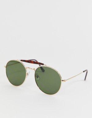 Золотистые солнцезащитные очки в стиле ретро с планкой -Золотой New Look