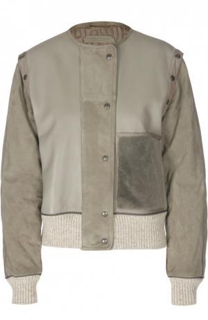 Кожаная куртка с замшевыми рукавами и манжетами Bottega Veneta. Цвет: серый