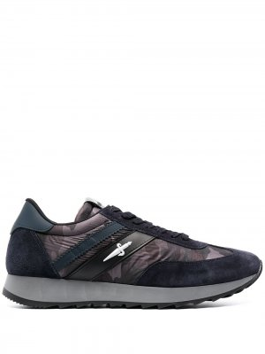 Кроссовки со вставками Cesare Paciotti. Цвет: синий