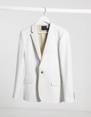 Серый супероблегающий пиджак wedding ASOS DESIGN