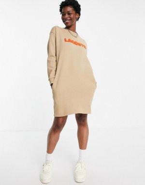 Бежевое платье-футболка с высоким воротом и логотипом -Светло-бежевый цвет Lacoste