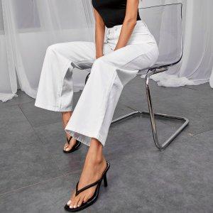 Широкие джинсы SHEIN. Цвет: белый