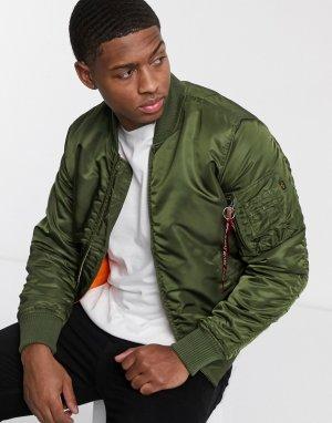Нейлоновая куртка с карманом MA-1 от -Зеленый Alpha Industries