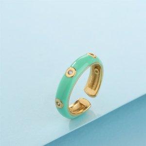18K Позолоченное открытое кольцо с цирконом SHEIN. Цвет: мятно-зеленый