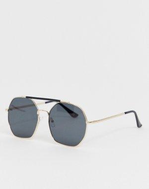 Солнцезащитные очки в большой круглой оправе золотистого цвета -Золотой Jeepers Peepers