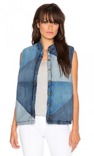 Денимовый жилет the patchwork puffer vest Current/Elliott. Цвет: none