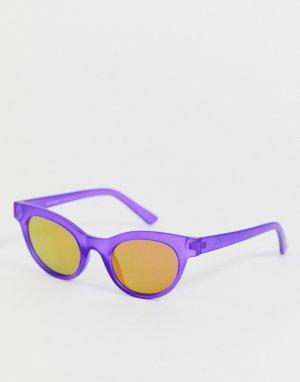 Фиолетовые матовые солнцезащитные очки в круглой оправе AJ Morgan. Цвет: фиолетовый
