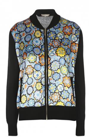 Куртка-бомбер с атласной вставкой и карманами Emilio Pucci. Цвет: синий