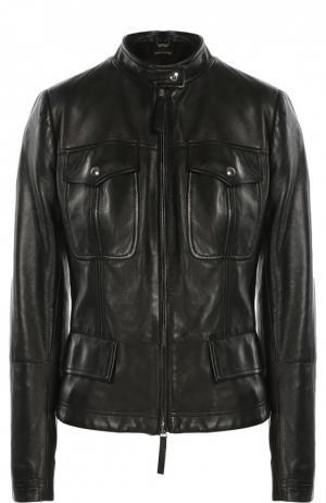 Кожаная куртка с накладными карманами и декоративной шнуровкой Roberto Cavalli. Цвет: черный