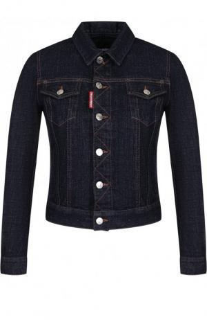Джинсовая куртка с контрастной прострочкой Dsquared2. Цвет: темно-синий