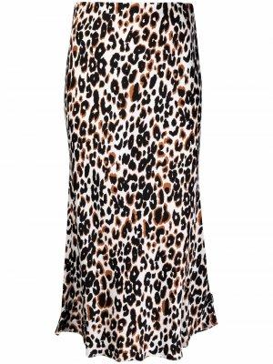Юбка миди с леопардовым принтом Calvin Klein. Цвет: нейтральные цвета