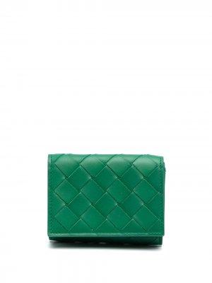 Бумажник с плетением Intrecciato Bottega Veneta. Цвет: зеленый