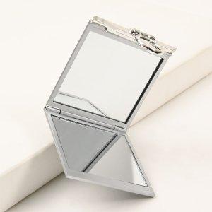 Двустороннее зеркало для макияжа SHEIN. Цвет: серебряные