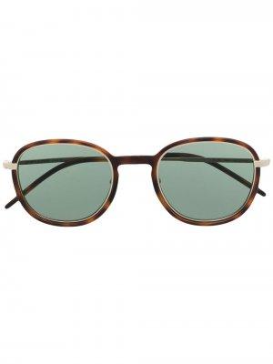 Солнцезащитные очки в круглой оправе черепаховой расцветки Saint Laurent Eyewear. Цвет: коричневый