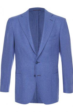 Однобортный кашемировый пиджак Andrea Campagna. Цвет: синий
