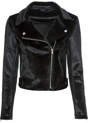 Куртка байкерская bonprix. Цвет: черный