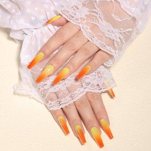 24шт Накладные ногти с узором омбре & 1шт пилочка для ногтей 1 лист лента SHEIN. Цвет: коралловый оранжевый