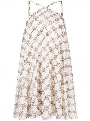 Платье мини с вырезом халтер Elisabetta Franchi. Цвет: нейтральные цвета